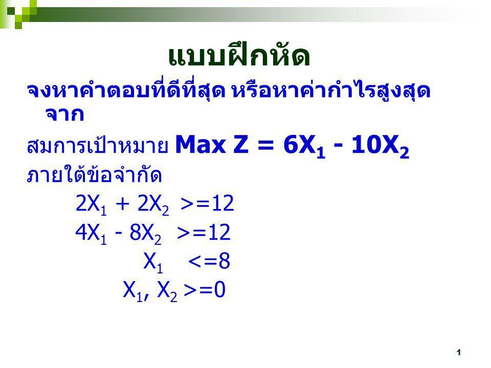 1 จงหาคำตอบที่ดีที่สุด หรือหาค่ากำไรสูงสุด จาก สมการเป้าหมาย Max Z = 6X 1 - 10X 2 ภายใต้ข้อจำกัด 2X 1 + 2X 2 >=12 4X 1 - 8X 2 >=12 X 1 <=8 X 1, X 2 >=