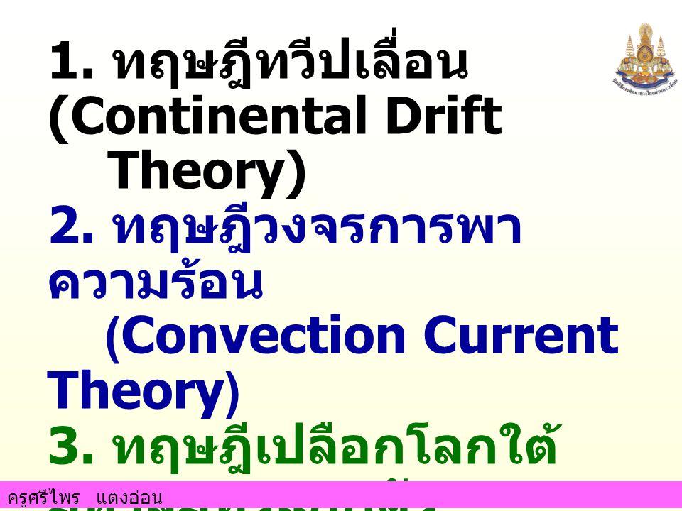 1. ทฤษฎีทวีปเลื่อน (Continental Drift Theory) 2. ทฤษฎีวงจรการพา ความร้อน (Convection Current Theory) 3. ทฤษฎีเปลือกโลกใต้ มหาสมุทรแยกตัว (Sea Floor Sp