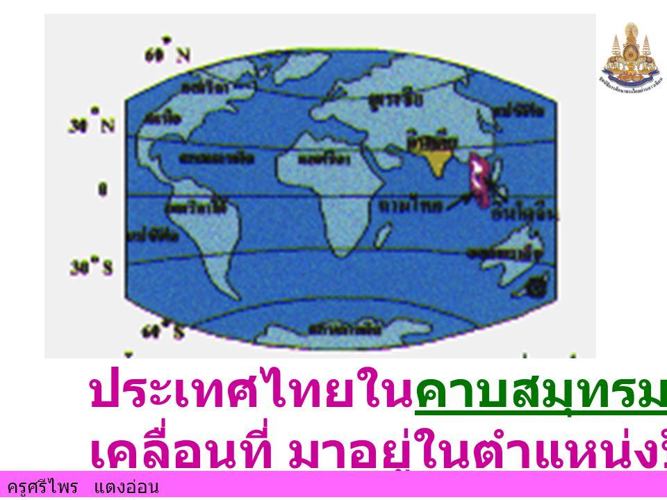 ประเทศไทยในคาบสมุทรมลายูได้ เคลื่อนที่ มาอยู่ในตำแหน่งปัจจุบัน ครูศรีไพร แตงอ่อน