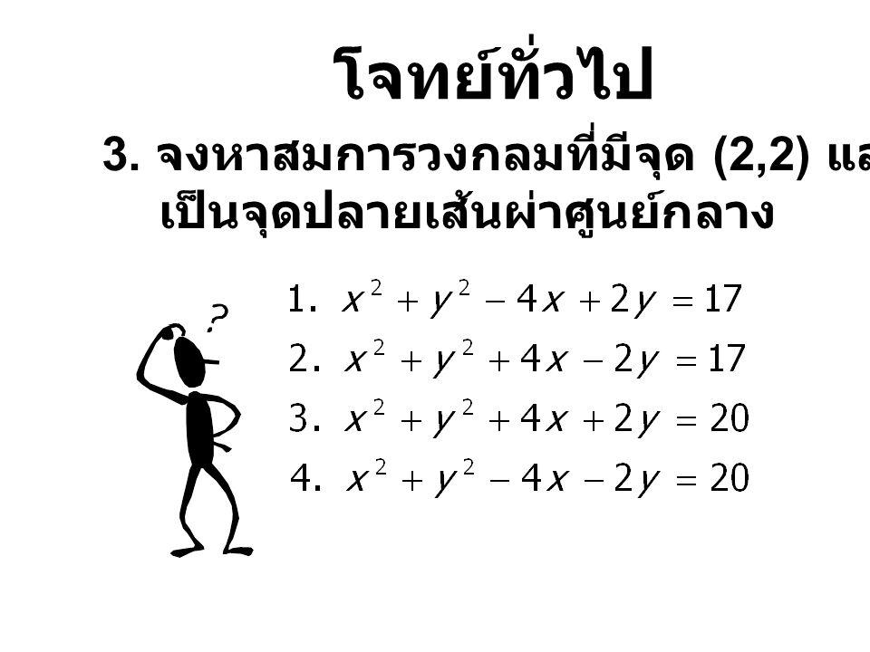 โจทย์ทั่วไป 4. จงหาสมการวงกลมที่มีจุดศูนย์กลางที่ (5,-2) และเส้นรอบวงผ่านจุด (-1,5)