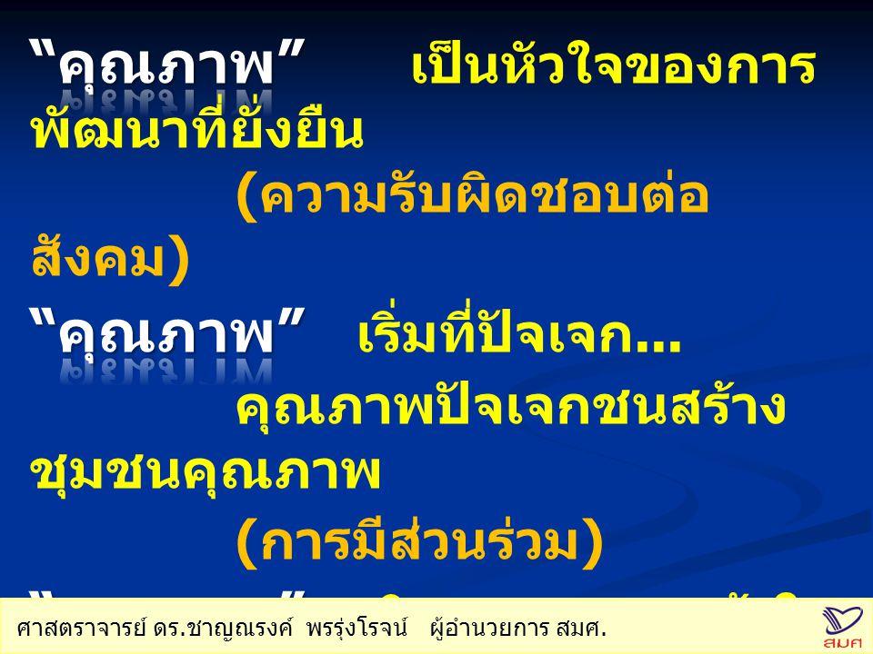 ข้อเสนอการปฏิรูปการศึกษาใน ทศวรรษที่สอง วิสัยทัศน์ : วิสัยทัศน์ : คนไทยได้เรียนรู้ตลอดชีวิต อย่างมีคุณภาพ ปรัชญา : ปรัชญา : การเรียนรู้อย่างมีคุณภาพ คือ การเรียนรู้ผ่านกิจกรรมที่เชื่อมโยงกับวิถีชีวิต เป้าหมายระยะยาว : เป้าหมายระยะยาว : ภายในปี ๒๕๖๑ มีการ ปฏิรูปการศึกษาและ การเรียนรู้อย่างเป็นระบบ โดยเน้นประเด็นหลัก สามประการ คือ พัฒนาคุณภาพและมาตรฐานการศึกษา และการเรียนรู้ ของคนไทย โอกาสทางการศึกษาและเรียนรู้ ส่งเสริมการมีส่วนร่วมของทุกภาคส่วน ของสังคมในการ บริหารและจัดการศึกษา ศาสตราจารย์ ดร.