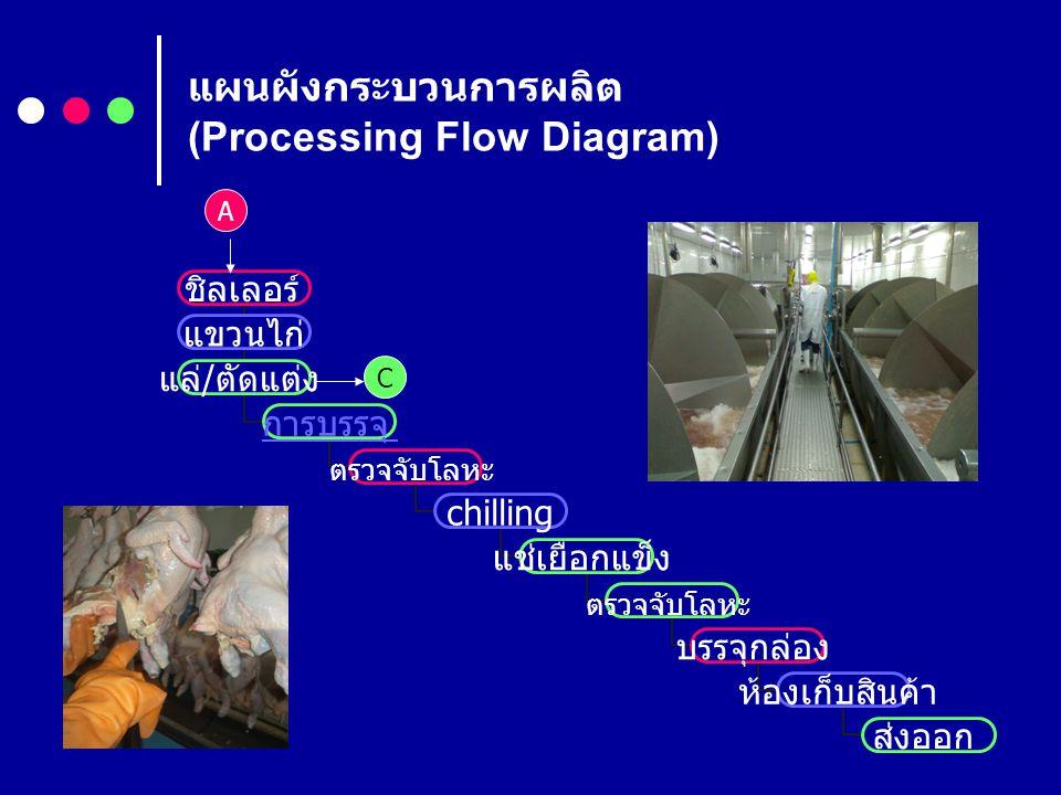 แผนผังกระบวนการผลิต (Processing Flow Diagram) ชิลเลอร์ แขวนไก่ แล่ / ตัดแต่ง การบรรจุ ตรวจจับ โลหะ chilling แช่เยือกแข็ง ตรวจจับ โลหะ บรรจุกล่อง ห้องเ