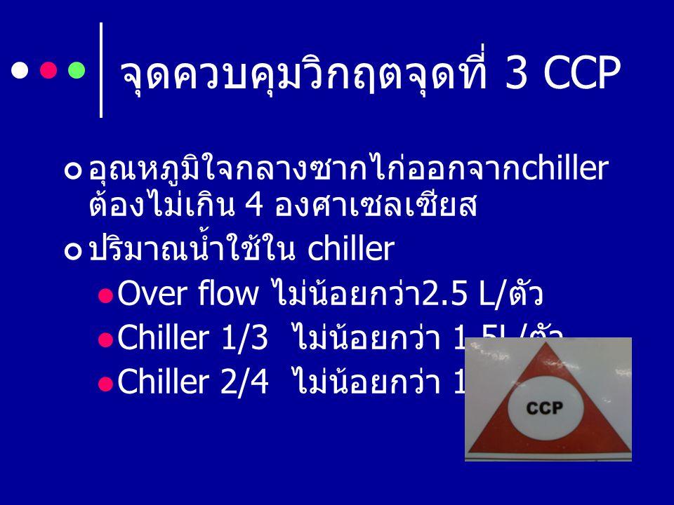 จุดควบคุมวิกฤตจุดที่ 3 CCP อุณหภูมิใจกลางซากไก่ออกจาก chiller ต้องไม่เกิน 4 องศาเซลเซียส ปริมาณน้ำใช้ใน chiller Over flow ไม่น้อยกว่า 2.5 L/ ตัว Chill