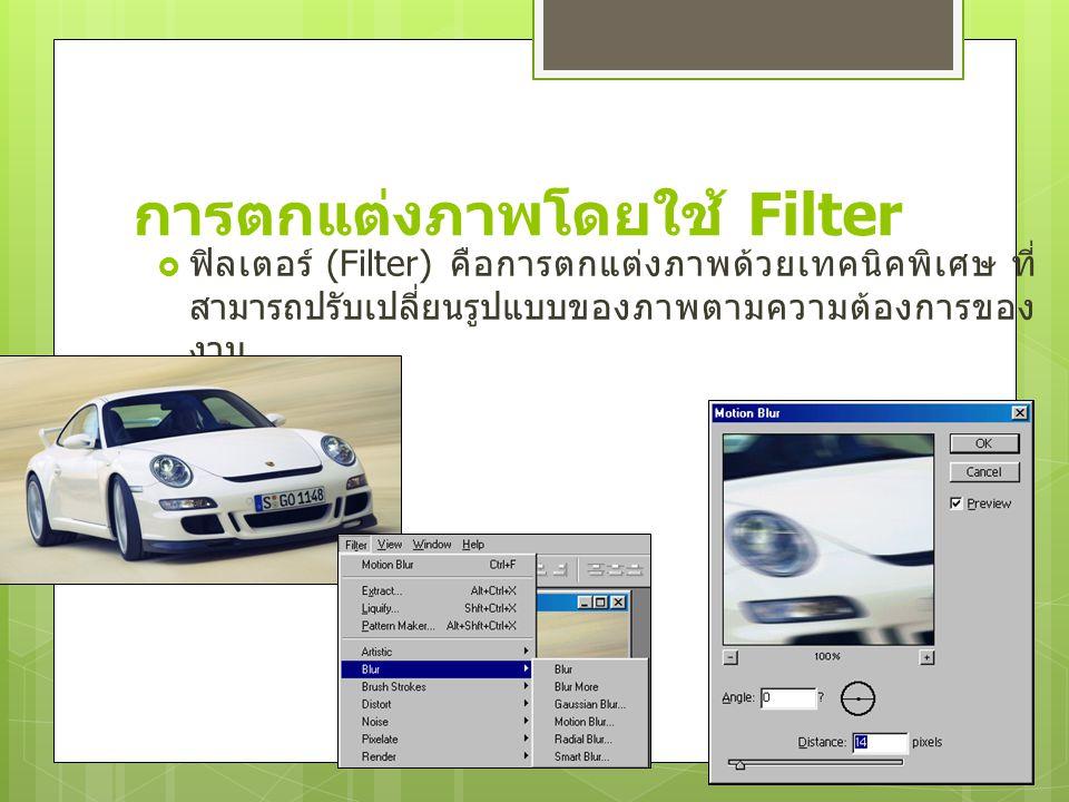 การตกแต่งภาพโดยใช้ Filter  ฟิลเตอร์ (Filter) คือการตกแต่งภาพด้วยเทคนิคพิเศษ ที่ สามารถปรับเปลี่ยนรูปแบบของภาพตามความต้องการของ งาน