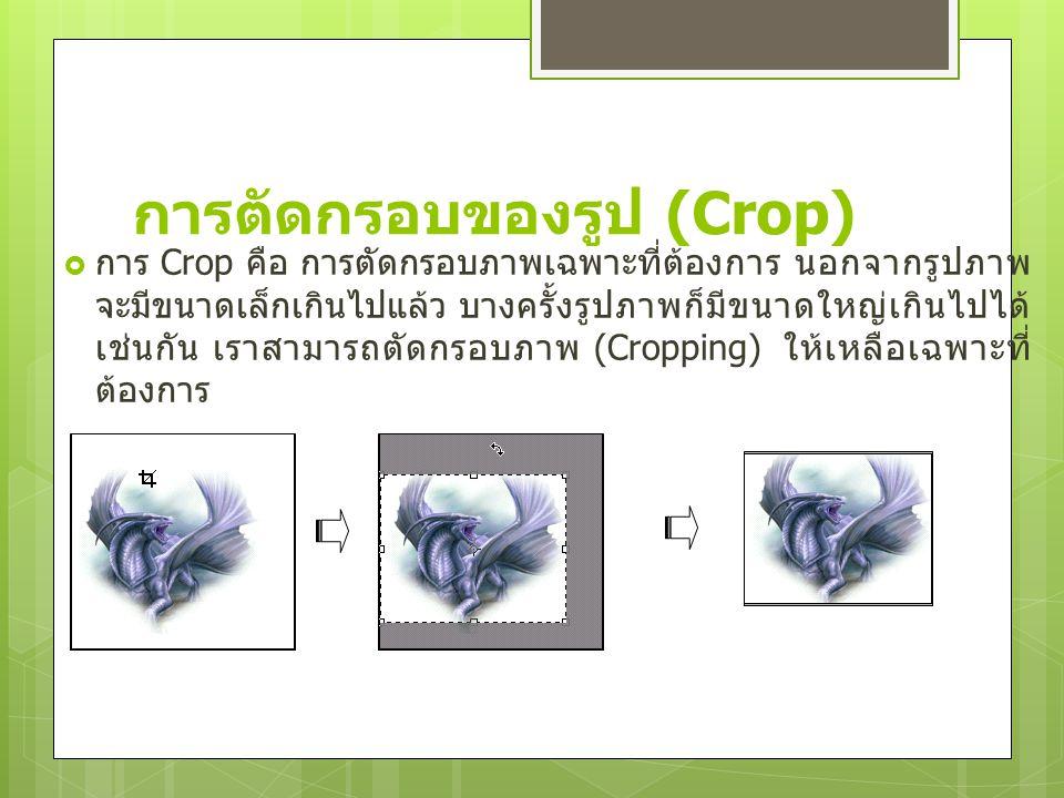 การตัดกรอบของรูป (Crop)  การ Crop คือ การตัดกรอบภาพเฉพาะที่ต้องการ นอกจากรูปภาพ จะมีขนาดเล็กเกินไปแล้ว บางครั้งรูปภาพก็มีขนาดใหญ่เกินไปได้ เช่นกัน เร