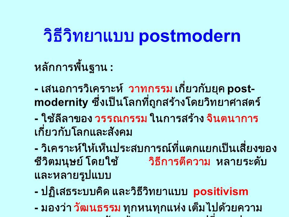 Postmodern Social Theory ทฤษฎีแนว postmodern เป็นการคิดคำนึงทางทฤษฎี เกี่ยวกับสังคมที่ดำรงอยู่ แนวคิดพื้นฐาน : - ปฏิเสธ grand theory แบบเบ็ดเสร็จ - ไม