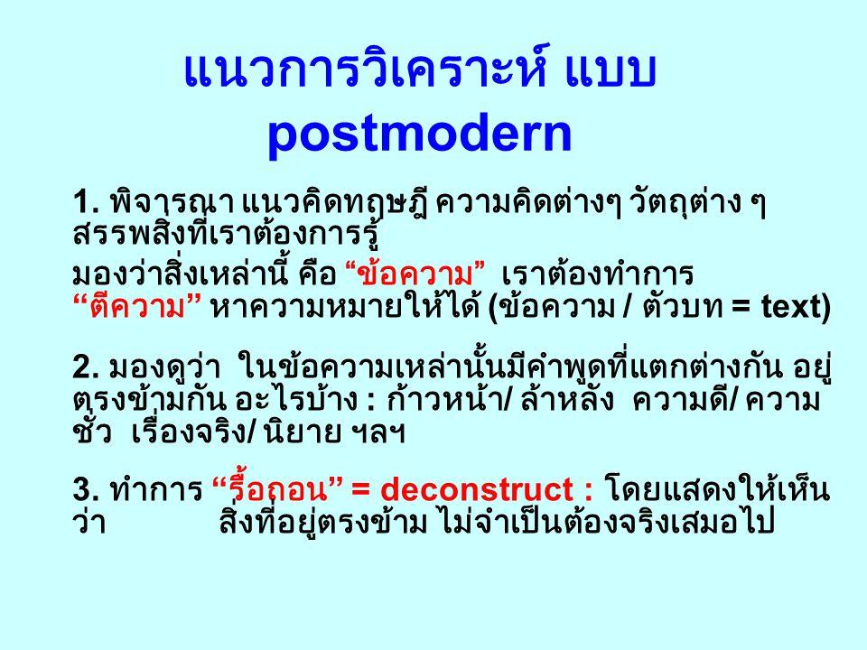 นิยาม postmodernism ( ต่อ ) นักคิดแนว postmodern ต้องการจะบอกว่า ไม่มีระบบคิด / ทฤษฎีไหน ที่จะมีอภิสิทธิ์อยู่เหนือทฤษฎี อื่น ๆ กระแสหลัก : บอกว่า ความ