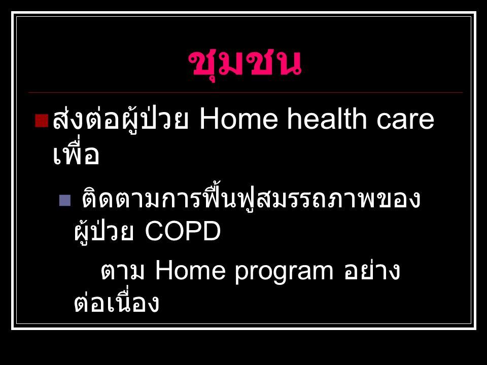ชุมชน ส่งต่อผู้ป่วย Home health care เพื่อ ติดตามการฟื้นฟูสมรรถภาพของ ผู้ป่วย COPD ตาม Home program อย่าง ต่อเนื่อง