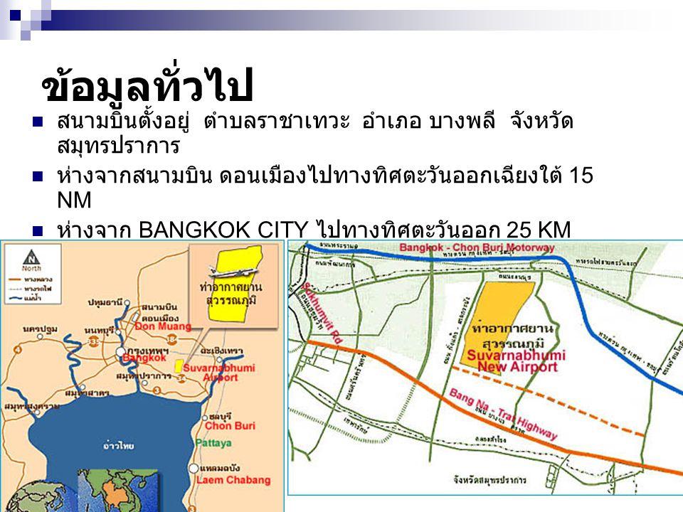 ข้อมูลทั่วไป สนามบินตั้งอยู่ ตำบลราชาเทวะ อำเภอ บางพลี จังหวัด สมุทรปราการ ห่างจากสนามบิน ดอนเมืองไปทางทิศตะวันออกเฉียงใต้ 15 NM ห่างจาก BANGKOK CITY ไปทางทิศตะวันออก 25 KM เนื้อที่ 20,000 ไร่