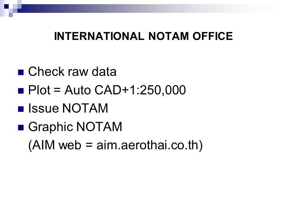 INTERNATIONAL NOTAM OFFICE Check raw data Plot = Auto CAD+1:250,000 Issue NOTAM Graphic NOTAM (AIM web = aim.aerothai.co.th)