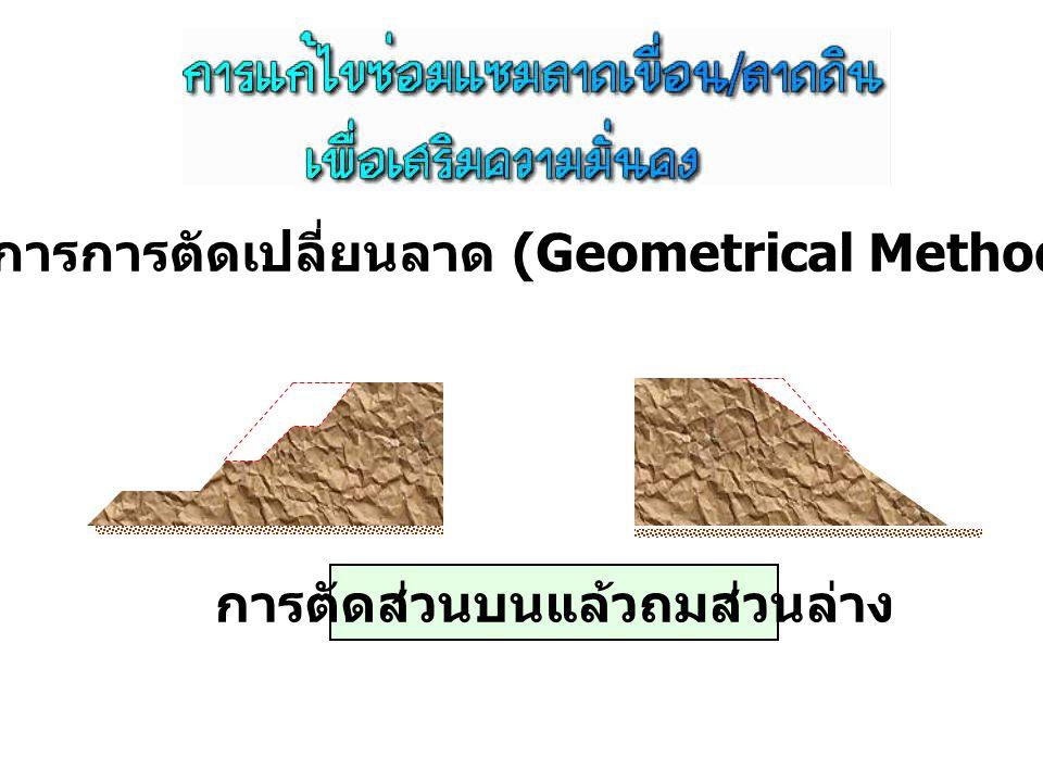 การตัดส่วนบนแล้วถมส่วนล่าง 1. วิธีการการตัดเปลี่ยนลาด (Geometrical Methods)
