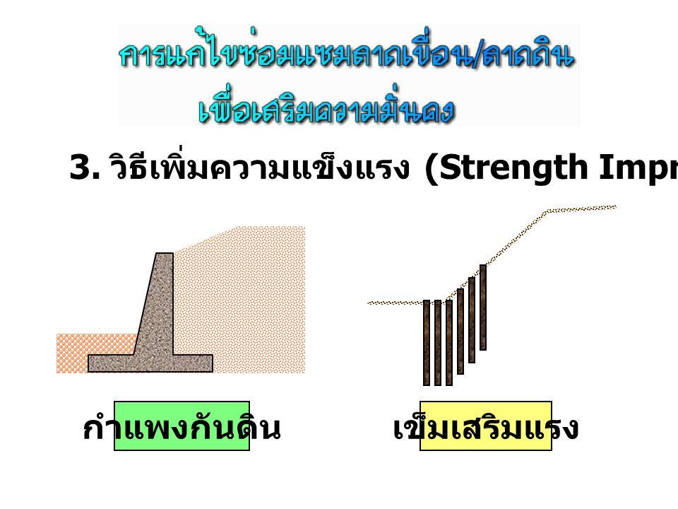 3. วิธีเพิ่มความแข็งแรง (Strength Improvement Method) กำแพงกันดินเข็มเสริมแรง