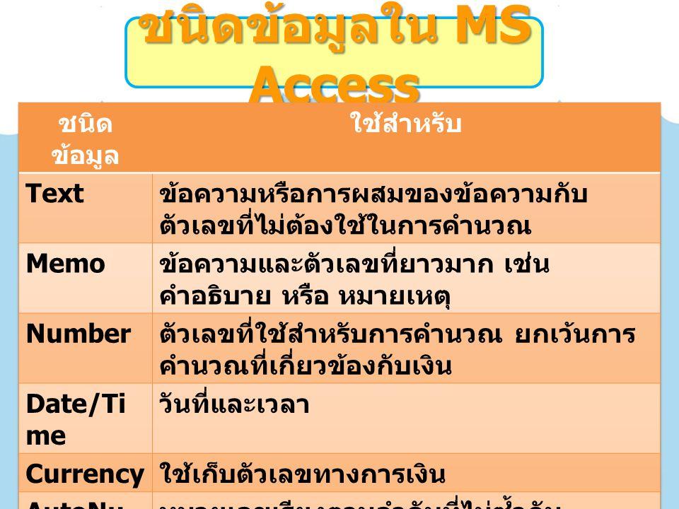 ชนิดข้อมูลใน MS Access