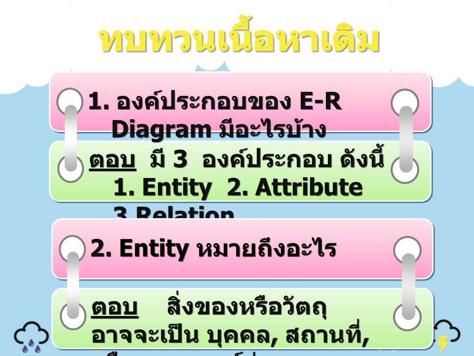 1. องค์ประกอบของ E-R Diagram มีอะไรบ้าง ตอบ มี 3 องค์ประกอบ ดังนี้ 1. Entity 2. Attribute 3.Relation 2. Entity หมายถึงอะไร 2. Entity หมายถึงอะไร ตอบ ส