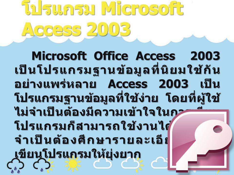 Microsoft Office Access 2003 เป็นโปรแกรมฐานข้อมูลที่นิยมใช้กัน อย่างแพร่หลาย Access 2003 เป็น โปรแกรมฐานข้อมูลที่ใช้ง่าย โดยที่ผู้ใช้ ไม่จำเป็นต้องมีความเข้าใจในการเขียน โปรแกรมก็สามารถใช้งานได้โดยที่ไม่ จำเป็นต้องศึกษารายละเอียดในการ เขียนโปรแกรมให้ยุ่งยาก Microsoft Office Access 2003 เป็นโปรแกรมฐานข้อมูลที่นิยมใช้กัน อย่างแพร่หลาย Access 2003 เป็น โปรแกรมฐานข้อมูลที่ใช้ง่าย โดยที่ผู้ใช้ ไม่จำเป็นต้องมีความเข้าใจในการเขียน โปรแกรมก็สามารถใช้งานได้โดยที่ไม่ จำเป็นต้องศึกษารายละเอียดในการ เขียนโปรแกรมให้ยุ่งยาก