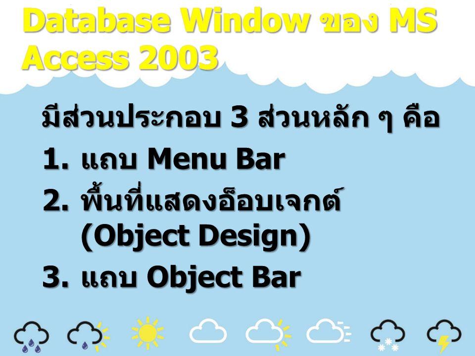 มีส่วนประกอบ 3 ส่วนหลัก ๆ คือ 1. แถบ Menu Bar 2. พื้นที่แสดงอ็อบเจกต์ (Object Design) 3. แถบ Object Bar