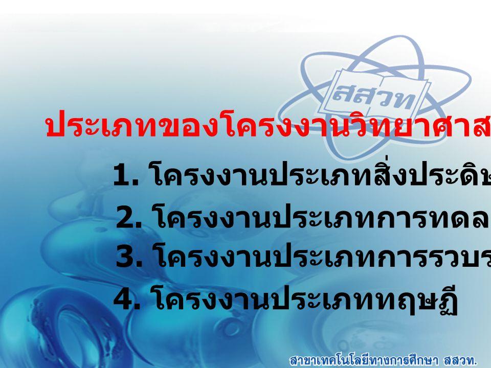 ประเภทของโครงงานวิทยาศาสตร์ 1. โครงงานประเภทสิ่งประดิษฐ์ 2. โครงงานประเภทการทดลอง 3. โครงงานประเภทการรวบรวมข้อมูล 4. โครงงานประเภททฤษฏี