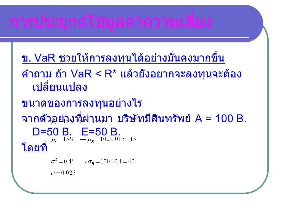 VaR(α-0.0030) โครงการ A คำนวณ Var (α=0.0030) ได้ เท่ากับ 87.25 โครงการ B คำนวณ Var (α=0.0030) ได้ เท่ากับ 21.50