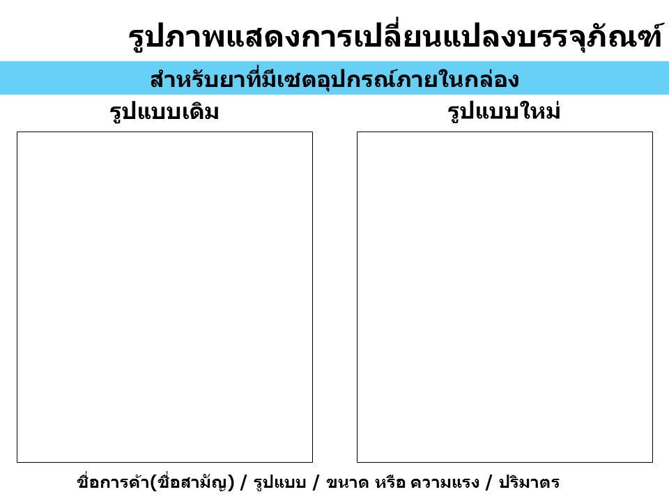 รูปภาพแสดงการเปลี่ยนแปลงบรรจุภัณฑ์ สำหรับยาที่มีเซตอุปกรณ์ภายในกล่อง รูปแบบเดิม รูปแบบใหม่ ชื่อการค้า ( ชื่อสามัญ ) / รูปแบบ / ขนาด หรือ ความแรง / ปริมาตร