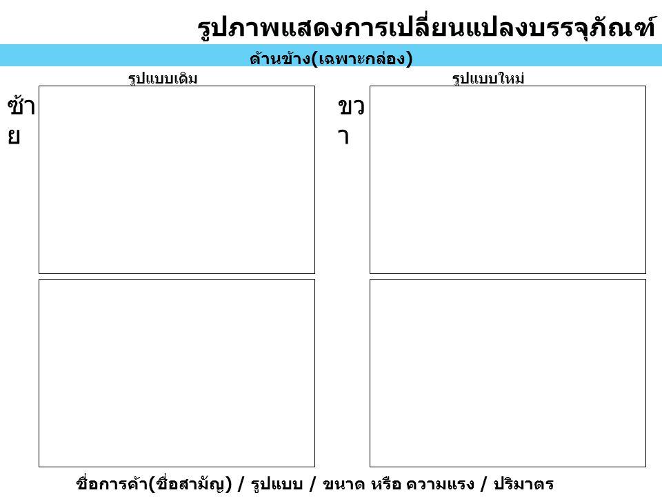รูปภาพแสดงการเปลี่ยนแปลงบรรจุภัณฑ์ ด้านข้าง ( เฉพาะกล่อง ) รูปแบบเดิมรูปแบบใหม่ ซ้า ย ขว า ชื่อการค้า ( ชื่อสามัญ ) / รูปแบบ / ขนาด หรือ ความแรง / ปริมาตร