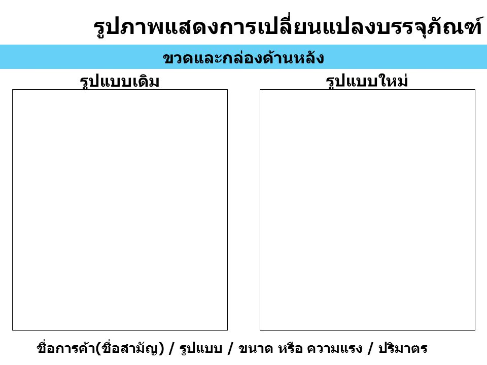 รูปภาพแสดงการเปลี่ยนแปลงบรรจุภัณฑ์ ขวดและกล่องด้านหลัง รูปแบบเดิม รูปแบบใหม่ ชื่อการค้า ( ชื่อสามัญ ) / รูปแบบ / ขนาด หรือ ความแรง / ปริมาตร
