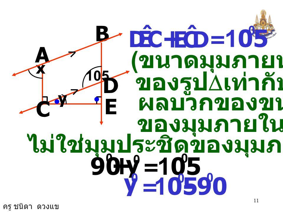 ครู ชนิดา ดวงแข 10 2. จากรูป กำหนดให้ AB//CD มี ECA ˆ และ DEC ˆ เป็นมุมฉากจงหาค่า x และ y B A C E D 105 x y