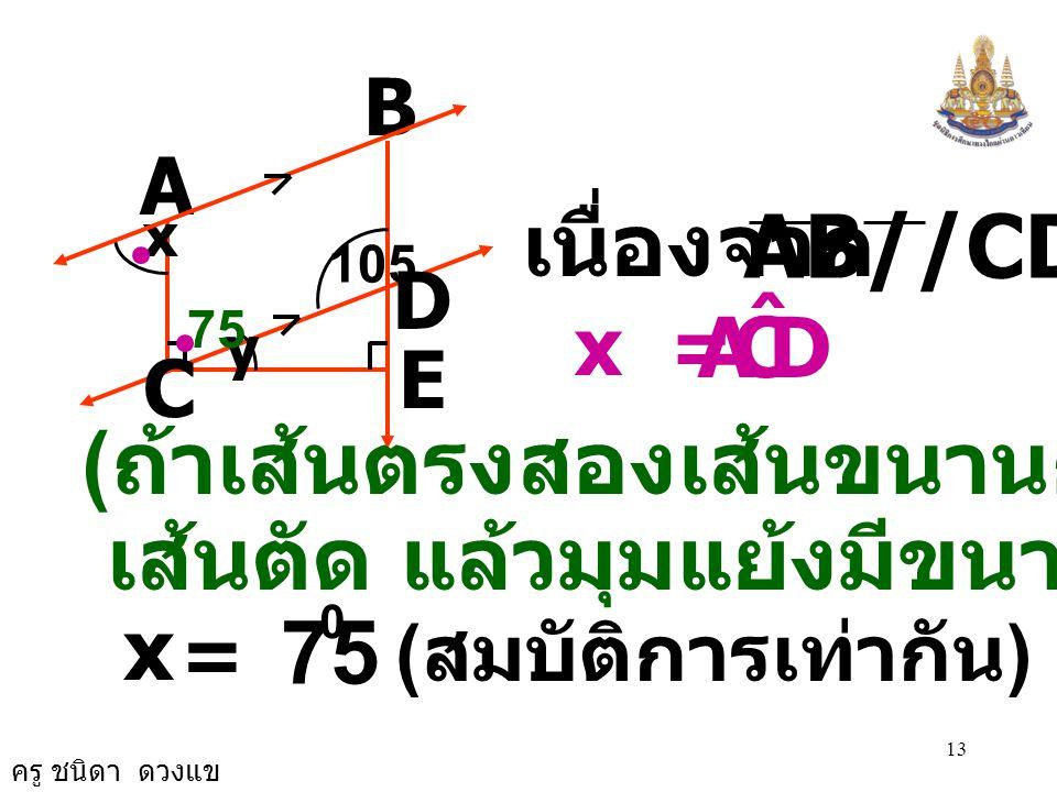 ครู ชนิดา ดวงแข 12 B A C E D 105 x y y = 15 0 ( ขนาดของมุมฉาก ) DCA ˆ = + y 0 90 0 15 0 DCA ˆ = + 90 0 DCA ˆ = 0 - 15 0 DCA ˆ = 75 0 15 75 - = 105 0 9