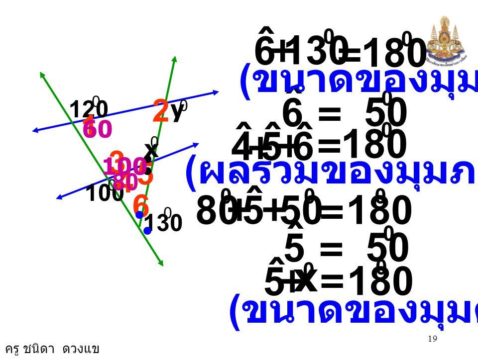 ครู ชนิดา ดวงแข 18 3. จากรูป จงหาค่า x และ y 120 100 130 y x 1 ˆ + 120 0 = 180 0 1 ˆ = 60 0 3 ˆ = 100 0 ( ขนาดของมุมตรง ) ( ขนาดของมุมตรงข้าม ) 4 ˆ +