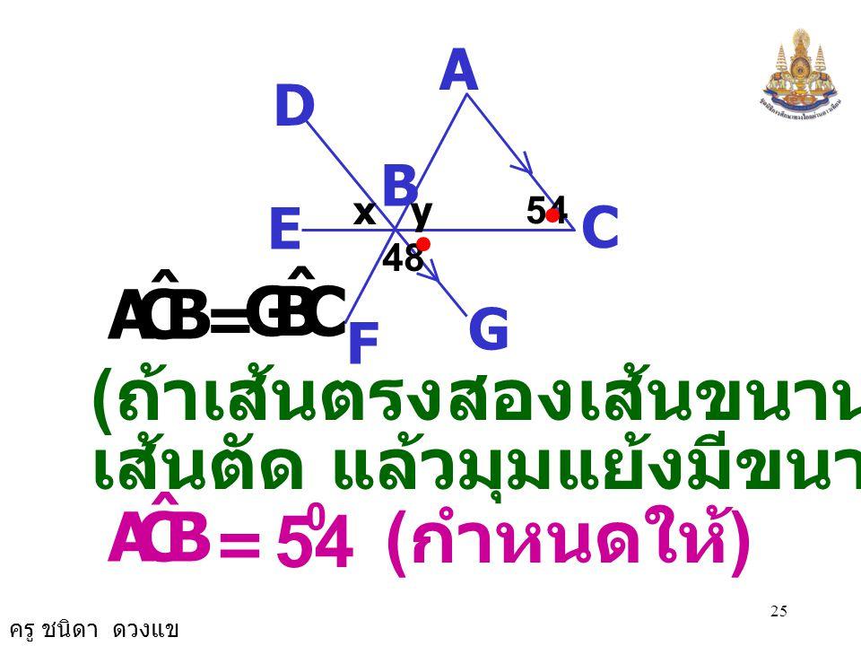 ครู ชนิดา ดวงแข 24 A C B D G E F 48 xy54 = 0 BCA ˆ ( กำหนดให้ ) = 54 0 EBD ˆ ( สมบัติการเท่ากัน ) = x 0 54 0 ดังนั้น
