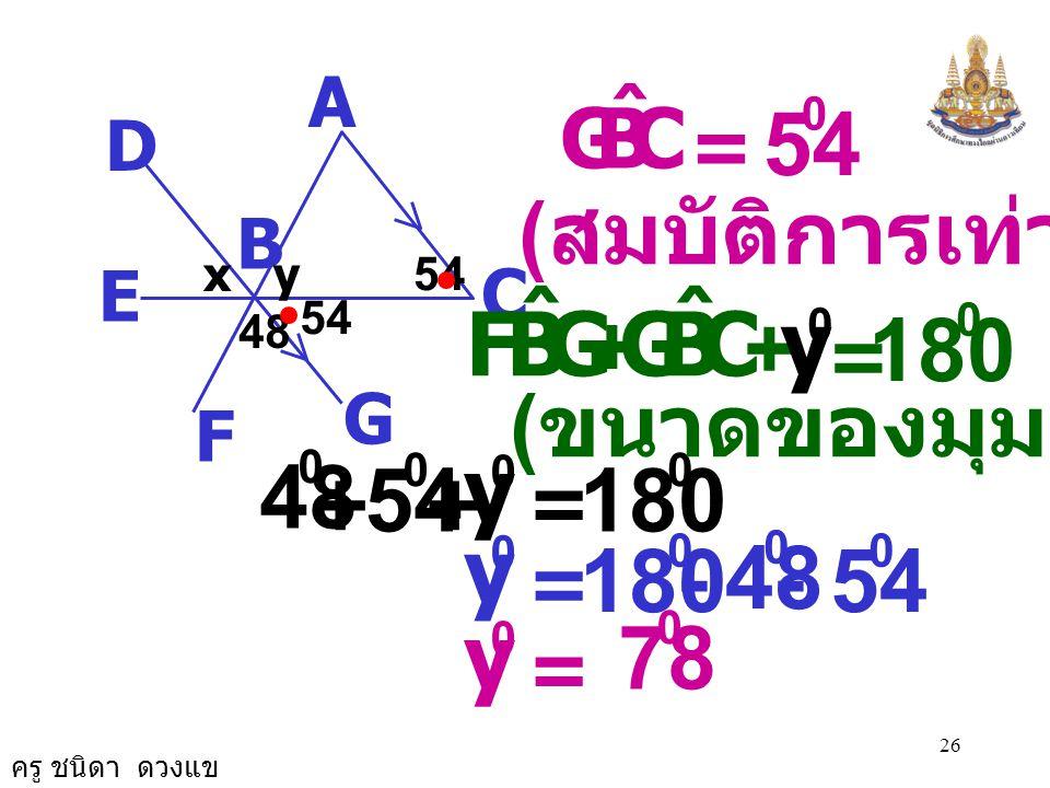 ครู ชนิดา ดวงแข 25 A C B D G E F 48 xy54 BCA ˆ CBG ˆ = ( ถ้าเส้นตรงสองเส้นขนานกันและมี เส้นตัด แล้วมุมแย้งมีขนาดเท่ากัน ) = 54 0 BCA ˆ ( กำหนดให้ )