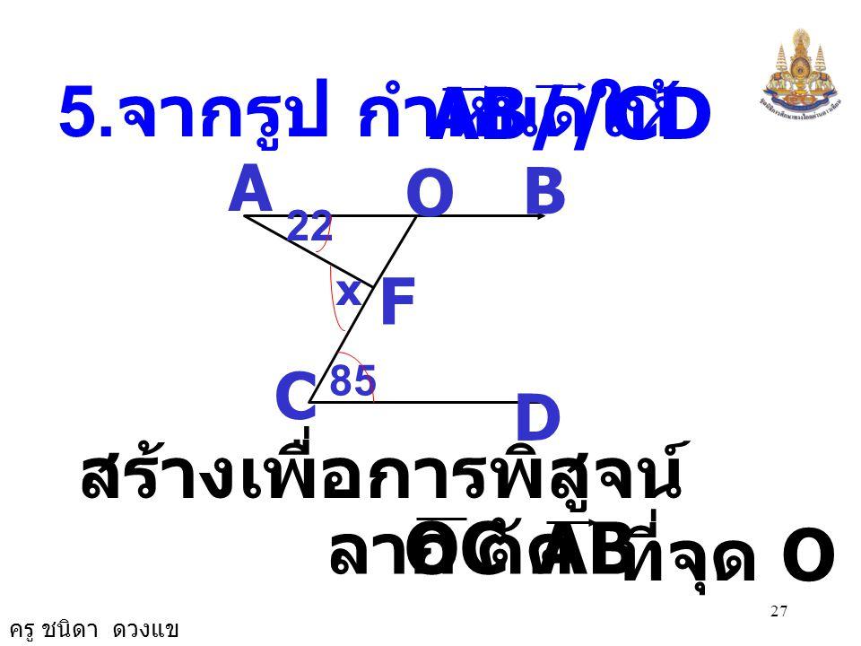 ครู ชนิดา ดวงแข 26 A C B D G E F 48 xy54 = 0 CBG ˆ ( สมบัติการเท่ากัน ) 54 0 = 48 0 + y 0 + 180 0 = 0 GBF ˆ + CBG ˆ + y 0 ( ขนาดของมุมตรง ) 54 0 = 48