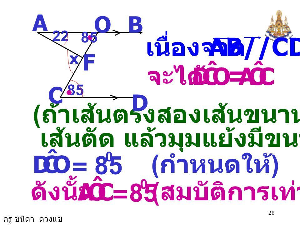 ครู ชนิดา ดวงแข 27 AB//CD 5. จากรูป กำหนดให้ จงหาค่า x 22 A B D C 85 x O F สร้างเพื่อการพิสูจน์ OC ลากตัด AB ที่จุด O