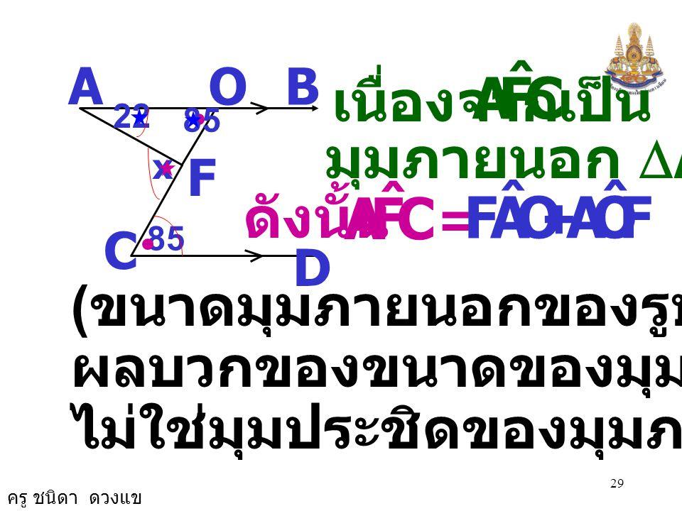 ครู ชนิดา ดวงแข 28 เนื่องจาก AB//CD จะได้ OCD ˆ COA ˆ = ( ถ้าเส้นตรงสองเส้นขนานกันและมี เส้นตัด แล้วมุมแย้งมีขนาดเท่ากัน ) 22 A B D C 85 x O F OCD ˆ =