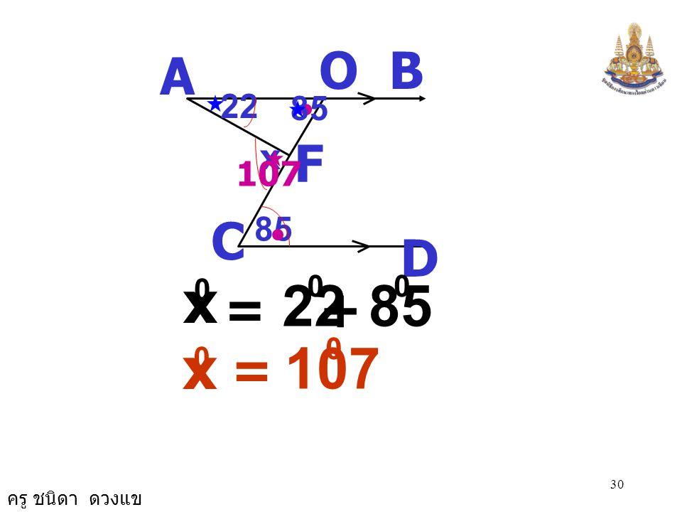 ครู ชนิดา ดวงแข 29 22 A B D C 85 x O F CFA ˆ ดังนั้น = OAF ˆ + FOA ˆ เนื่องจาก CFA ˆ เป็น มุมภายนอก  AFO ( ขนาดมุมภายนอกของรูป  เท่ากับ ผลบวกของขนาด