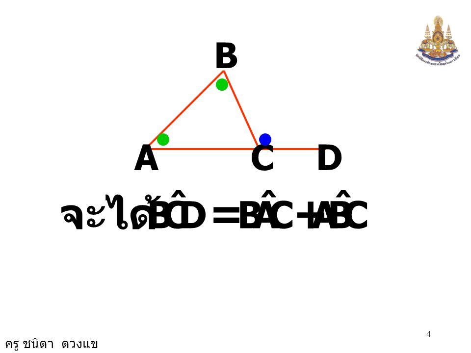 ครู ชนิดา ดวงแข 3 ทฤษฎีบท ถ้าต่อด้านใดด้านหนึ่งของ รูปสามเหลี่ยมออกไป มุม ภายนอกที่เกิดขึ้นจะมีขนาด เท่ากับผลบวกของขนาด ของมุมภายในที่ไม่ใช่มุม ประชิด