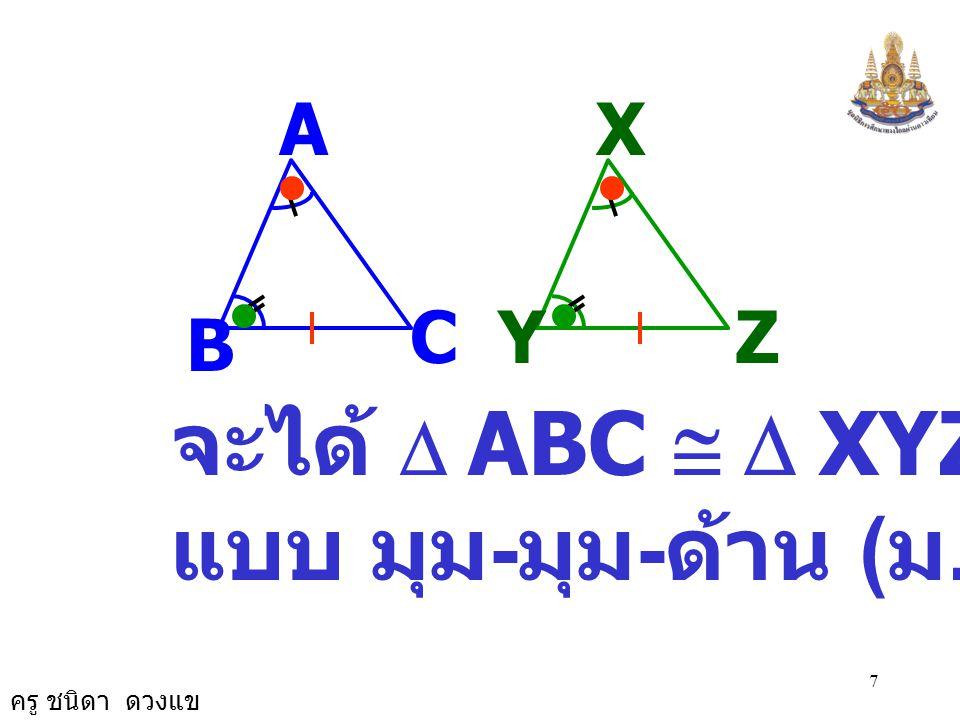 ครู ชนิดา ดวงแข 6 รูปสามเหลี่ยมสอง รูปใดมีขนาด ของมุมเท่ากันสองคู่ และมีด้านที่อยู่ ตรงข้ามกับมุมคู่ที่มี ขนาดเท่ากัน ยาวเท่ากันคู่หนึ่งแล้ว รูปสามเหล