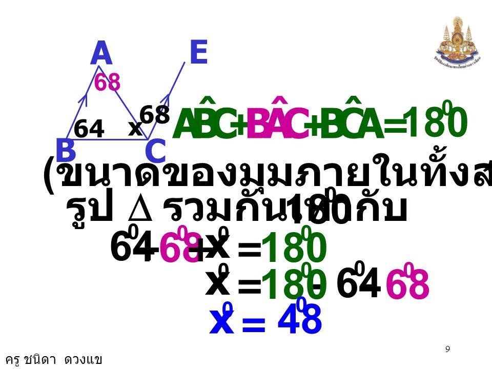 ครู ชนิดา ดวงแข 9 A E C B 64 68 x = 180 0 CBA ˆ + CAB ˆ + ACB ˆ ( ขนาดของมุมภายในทั้งสามมุมของ รูป  รวมกันเท่ากับ ) 180 0 68 0 = 64 0 + x 0 + 180 0 68 0 = 64 0 - x 0 - 180 0 = x 0 48 0 68