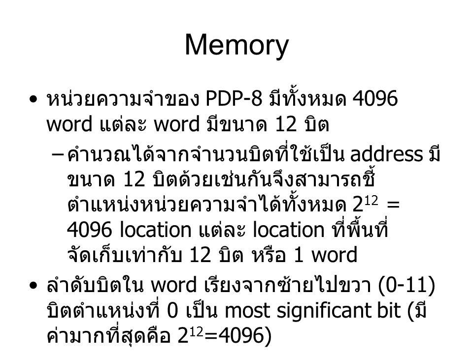Memory หน่วยความจำของ PDP-8 มีทั้งหมด 4096 word แต่ละ word มีขนาด 12 บิต – คำนวณได้จากจำนวนบิตที่ใช้เป็น address มี ขนาด 12 บิตด้วยเช่นกันจึงสามารถชี้