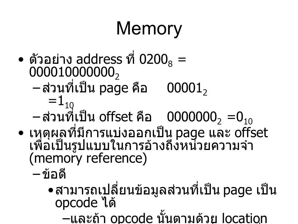 Memory ตัวอย่าง address ที่ 0200 8 = 000010000000 2 – ส่วนที่เป็น page คือ 00001 2 =1 10 – ส่วนที่เป็น offset คือ 0000000 2 =0 10 เหตุผลที่มีการแบ่งออ