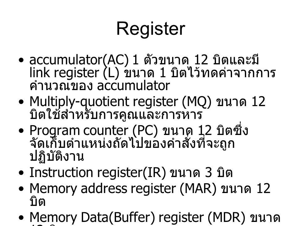 Register accumulator(AC) 1 ตัวขนาด 12 บิตและมี link register (L) ขนาด 1 บิตไว้ทดค่าจากการ คำนวณของ accumulator Multiply-quotient register (MQ) ขนาด 12
