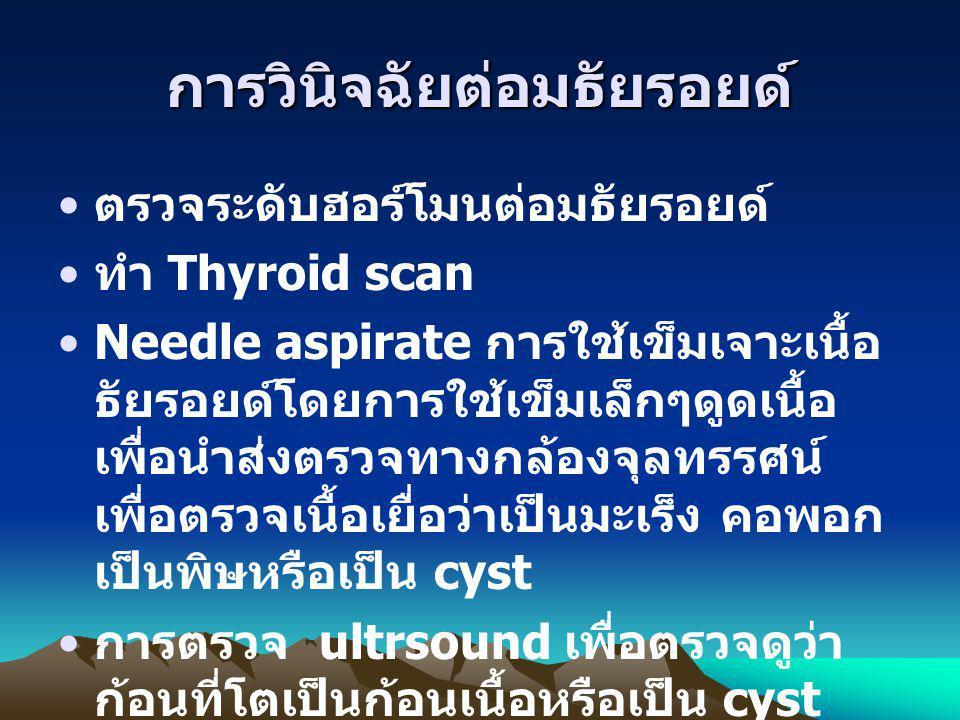 การวินิจฉัยต่อมธัยรอยด์ ตรวจระดับฮอร์โมนต่อมธัยรอยด์ ทำ Thyroid scan Needle aspirate การใช้เข็มเจาะเนื้อ ธัยรอยด์โดยการใช้เข็มเล็กๆดูดเนื้อ เพื่อนำส่ง
