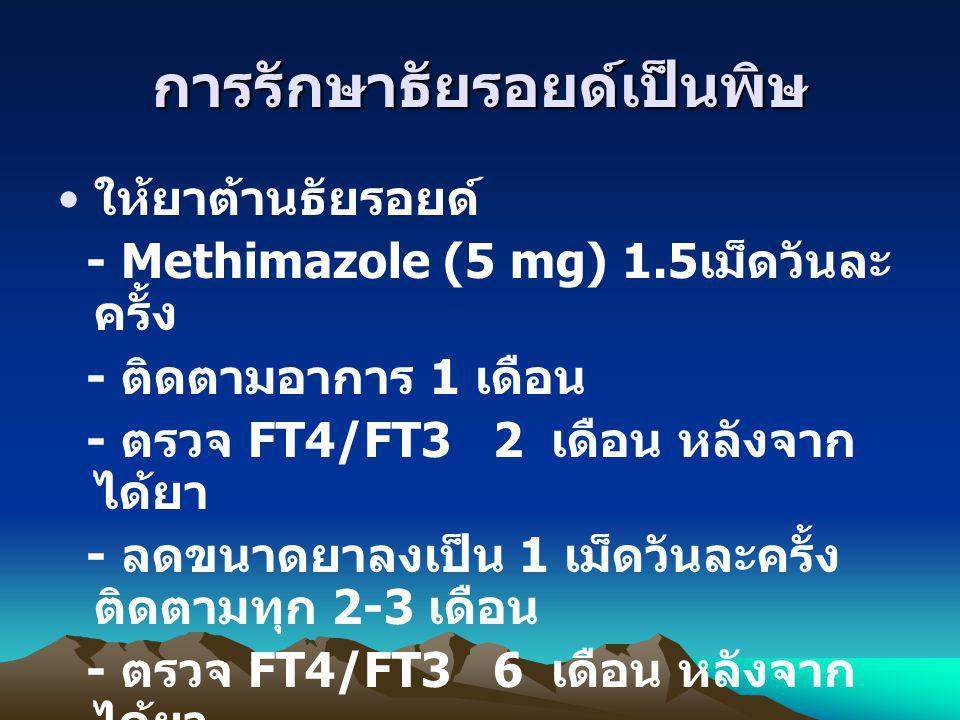 การรักษาธัยรอยด์เป็นพิษ ให้ยาต้านธัยรอยด์ - Methimazole (5 mg) 1.5 เม็ดวันละ ครั้ง - ติดตามอาการ 1 เดือน - ตรวจ FT4/FT3 2 เดือน หลังจาก ได้ยา - ลดขนาด