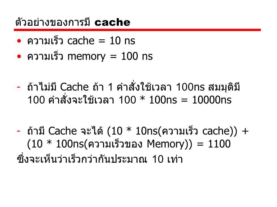 ตัวอย่างของการมี cache ความเร็ว cache = 10 ns ความเร็ว memory = 100 ns -ถ้าไม่มี Cache ถ้า 1 คำสั่งใช้เวลา 100ns สมมุติมี 100 คำสั่งจะใช้เวลา 100 * 100ns = 10000ns -ถ้ามี Cache จะได้ (10 * 10ns(ความเร็ว cache)) + (10 * 100ns(ความเร็วของ Memory)) = 1100 ซึ่งจะเห็นว่าเร็วกว่ากันประมาณ 10 เท่า
