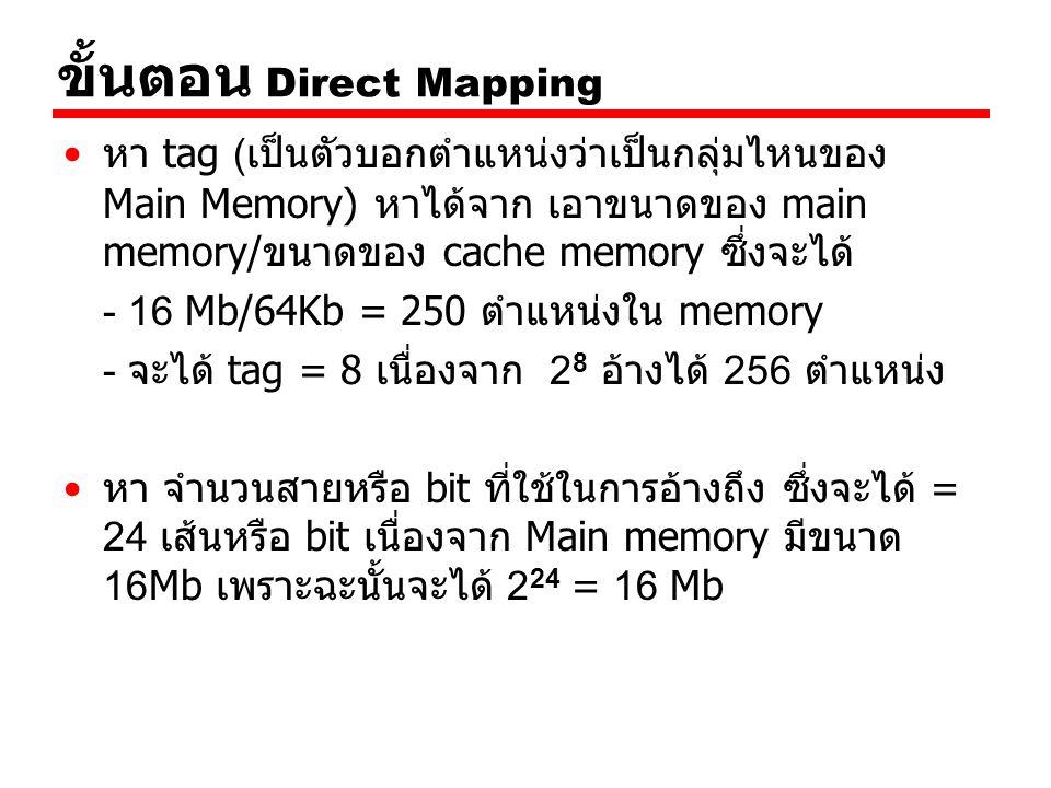 ขั้นตอน Direct Mapping หา tag (เป็นตัวบอกตำแหน่งว่าเป็นกลุ่มไหนของ Main Memory) หาได้จาก เอาขนาดของ main memory/ขนาดของ cache memory ซึ่งจะได้ - 16 Mb/64Kb = 250 ตำแหน่งใน memory - จะได้ tag = 8 เนื่องจาก 2 8 อ้างได้ 256 ตำแหน่ง หา จำนวนสายหรือ bit ที่ใช้ในการอ้างถึง ซึ่งจะได้ = 24 เส้นหรือ bit เนื่องจาก Main memory มีขนาด 16Mb เพราะฉะนั้นจะได้ 2 24 = 16 Mb