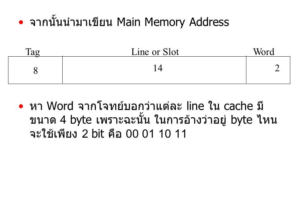 จากนั้นนำมาเขียน Main Memory Address หา Word จากโจทย์บอกว่าแต่ละ line ใน cache มี ขนาด 4 byte เพราะฉะนั้น ในการอ้างว่าอยู่ byte ไหน จะใช้เพียง 2 bit คือ 00 01 10 11 TagLine or SlotWord 8 142