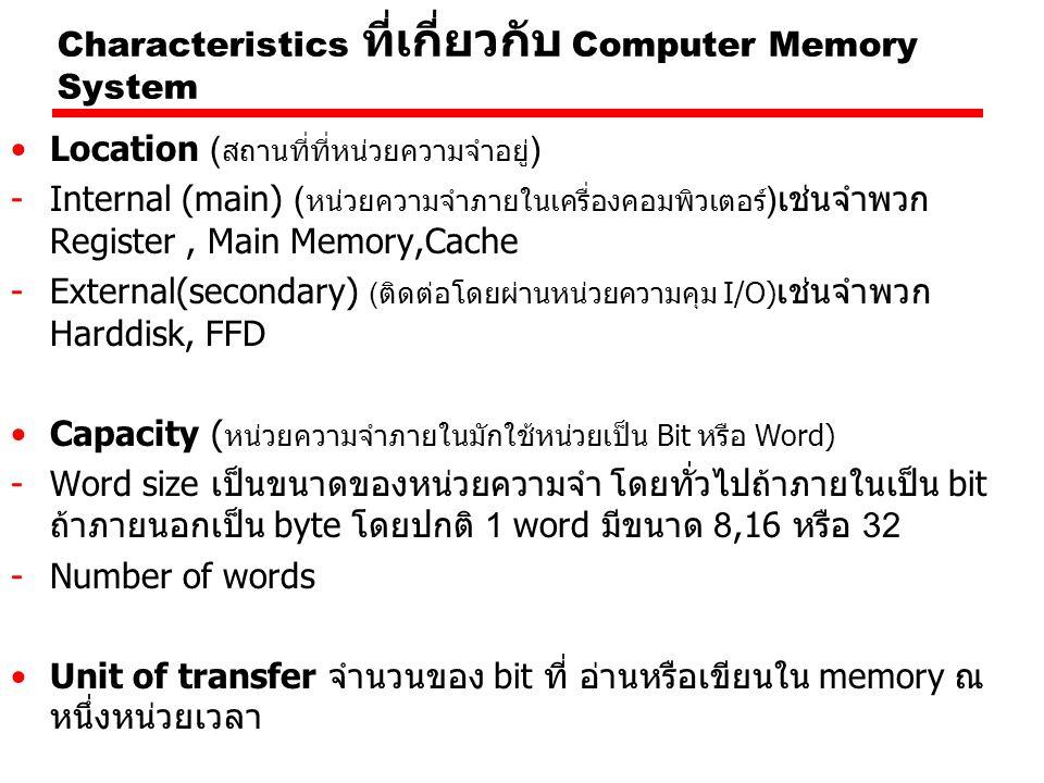 สมมุติว่าต้องการข้อมูลมาเก็บที่ Cache โดยข้อมูลที่เรา ต้องการคือ เอา Block ที่ 3 เอา Line ที่ 15 Byte ที่ 2 เรา จะมีวิธีการอ้าง Main Memory Address เป็นเลขอะไร 0000 0011 00000000001111 10 จะได้เป็น 03003Eh เวลาต้องการใช้งานก็อาจจะเรียก Ld A,03003Eh ซึ่งก็ หมายความว่าเป็นการเอาข้อมูลที่อยู่ใน Main Memory ใน Block ที่ 3 ของ Main Memory ในช่องที่ 15 และ Byte ที่ 2 นั่นเอง TagLine or SlotWord 8 142