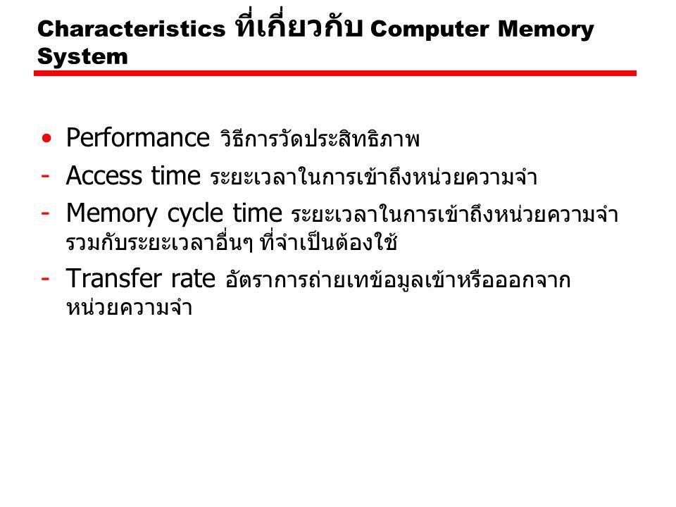Characteristics ที่เกี่ยวกับ Computer Memory System Performance วิธีการวัดประสิทธิภาพ -Access time ระยะเวลาในการเข้าถึงหน่วยความจำ -Memory cycle time ระยะเวลาในการเข้าถึงหน่วยความจำ รวมกับระยะเวลาอื่นๆ ที่จำเป็นต้องใช้ -Transfer rate อัตราการถ่ายเทข้อมูลเข้าหรือออกจาก หน่วยความจำ