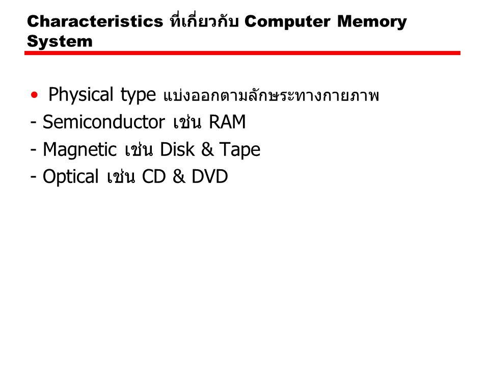 Physical type แบ่งออกตามลักษระทางกายภาพ - Semiconductor เช่น RAM - Magnetic เช่น Disk & Tape - Optical เช่น CD & DVD Characteristics ที่เกี่ยวกับ Comp