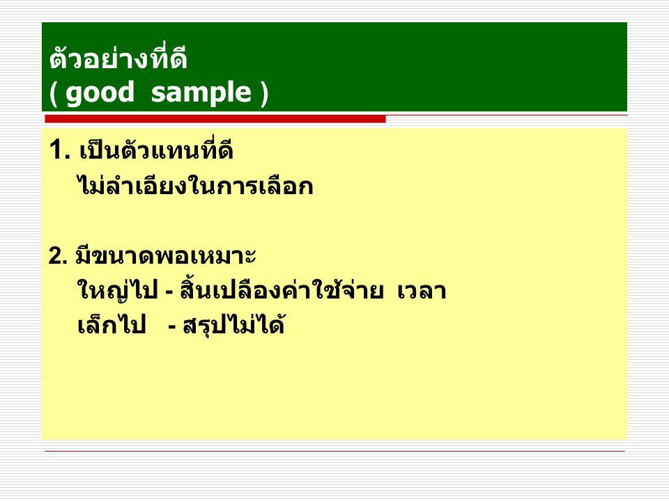 ตัวอย่างที่ดี ( good sample ) 1.เป็นตัวแทนที่ดี ไม่ลำเอียงในการเลือก 2.