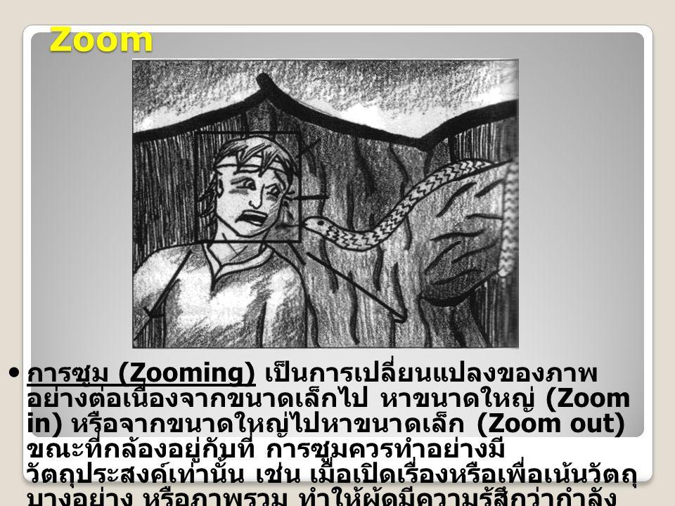 Zoom การซูม (Zooming) เป็นการเปลี่ยนแปลงของภาพ อย่างต่อเนื่องจากขนาดเล็กไป หาขนาดใหญ่ (Zoom in) หรือจากขนาดใหญ่ไปหาขนาดเล็ก (Zoom out) ขณะที่กล้องอยู่กับที่ การซูมควรทำอย่างมี วัตถุประสงค์เท่านั้น เช่น เมื่อเปิดเรื่องหรือเพื่อเน้นวัตถุ บางอย่าง หรือภาพรวม ทำให้ผู้ดูมีความรู้สึกว่ากำลัง เคลื่อนที่ไปพบกับวัตถุเพื่อดูรายละเอียดให้ชัดเจน ยิ่งขึ้น